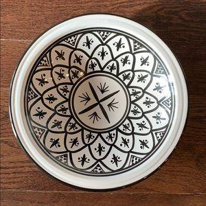 "Ceramic Bowl. Black & White Glaze. 13"" x 3"""